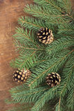Frame from branch of Christmas tree on old wood Royalty Free Stock Photography