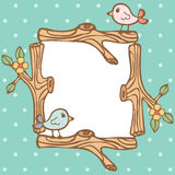 Frame Of Branch And Little Bird On Empty Space Royalty Free Stock Images