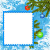 Frame with branches, ball on the blue background. White frame with branches, ball on the blue background Stock Photo
