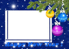 Frame with branches, ball on the blue background. White frame with branches, ball on the blue background Royalty Free Stock Image