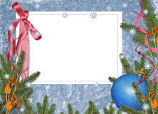 Frame with branches on the blue background Royalty Free Stock Images