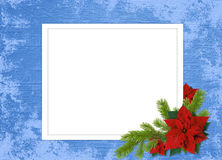 Frame with branches on the blue background. White frame with branches and flowers on the blue background Royalty Free Stock Photos
