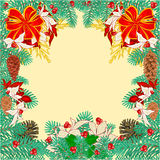 Frame of the branches Christmas tree vector. Frame of the branches of spruce decorated Christmas tree vector illustration Stock Photography