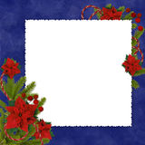 Frame with branches on the dark blue backgroud. White frame with branches and flowers on the dark  blue background Royalty Free Stock Image
