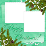 Frame with branches on the green background. White frame with branches and ribbon on the green background Stock Image