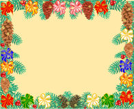 Frame of the branches with ribbon Christmas tree vector. Frame of the branches of spruce decorated Christmas tree with ribbon and pine cones vector illustration Royalty Free Stock Photos