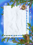 Frame with branches, ribbons. White frame with branches, ribbons on the blue background Stock Image