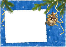 Frame with branches ribbons on the blue background Royalty Free Stock Photo