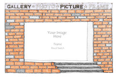 Frame Brick pencil freehand sketch Stock Photography