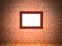 Frame on brick wall. One  frame on a red brick wall Stock Images