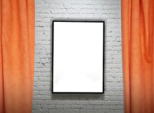 Frame on brick wall and draperies collage Royalty Free Stock Images