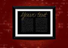 Frame on brick wall. Picture frame with shadow on brick wall. Vector background. Design for your content Royalty Free Stock Photography