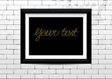 Frame on brick wall. Picture frame with shadow on brick wall. Vector background. Design for your content Stock Photo