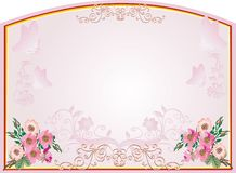 Frame with brier flowers. Illustration with pink color floral decoration Royalty Free Stock Image