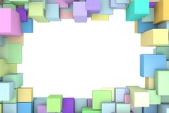 Frame bright colored cubes. Stock Photo
