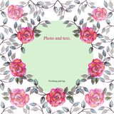 Frame of bright and pale flowers of roses and leaves. stock illustration