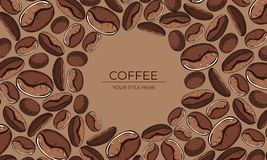 Frame of brown coffee beans with round space for text stock illustration