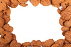 Frame of brown cookies Royalty Free Stock Images