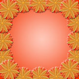 Frame from brown flowers on red background Royalty Free Stock Images