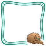 Frame With Brown Fluffy Cat Vector Illustration Stock Image