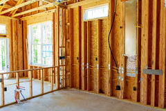 The frame building or house with basic electrical wiring Royalty Free Stock Image