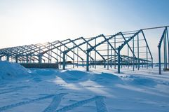 The frame of the building of metal. stock image