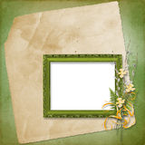 Frame with bunch of willow Royalty Free Stock Images