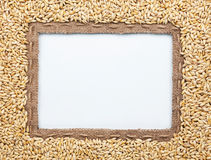 Frame of burlap and  barley in beans Stock Photos