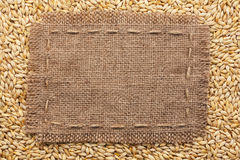 Frame of burlap  lying on a barley  background Stock Photography