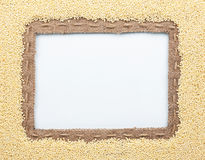 Frame of burlap and  millet beans Royalty Free Stock Photos