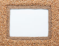 Frame of burlap and  wheat  beans Royalty Free Stock Photo