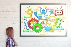 Frame with business sketch. Side portrait of girl looking at frame with colorful business sketch. Brick wall background. Communication concept Royalty Free Stock Photos