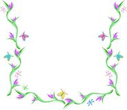 Frame of Butterflies, Dragonflies, and Flowers Stock Image