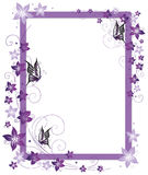 Frame, butterflies, flowers. Beautiful frame with purple flowers and butterfly Royalty Free Stock Image