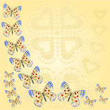Frame with butterflies and heart vector Royalty Free Stock Images