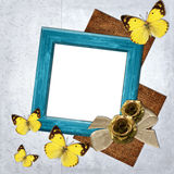 Frame  with butterfly and flowers Stock Photo