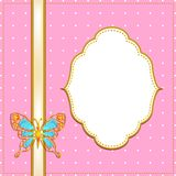 Frame with butterfly, pink Stock Photo