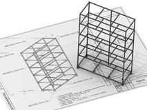 The frame of the cabinet. Is on the drawing (Russian language). The three-dimensional illustration. Isolated Stock Photo