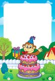 Frame with cake and party monkey theme 1 Stock Photos