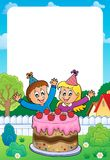 Frame with cake and two kids celebrating. Eps10 vector illustration Royalty Free Stock Photography