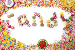 Frame of candies with candy word Royalty Free Stock Images