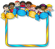 Frame with candies and kids Stock Photos