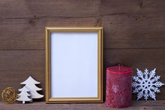 Frame With Candle And Christmas Decoration, Copy Space Royalty Free Stock Photos