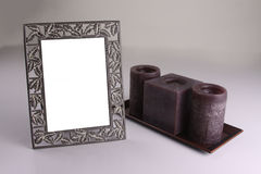 Frame and Candles Royalty Free Stock Photography
