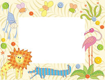 Frame or card with animals. Vector illustration Royalty Free Stock Photography