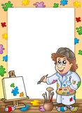 Frame with cartoon artist. Color illustration Royalty Free Stock Image
