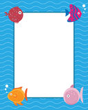 Frame with cartoon fishes. Illustration of a colored frame with four cartoon fishes useful also as invitation pool party.EPS file available Royalty Free Stock Photos