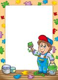 Frame with cartoon house painter Stock Images