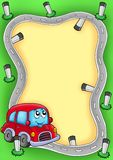 Frame with cartoon red car royalty free illustration
