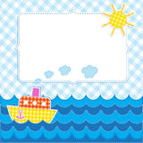 Frame with cartoon ship Royalty Free Stock Photography